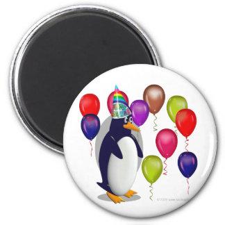 Pingouin d'anniversaire magnet rond 8 cm