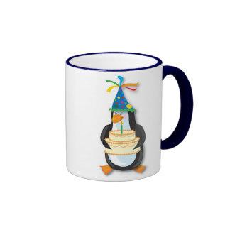 Pingouin d'anniversaire mug ringer