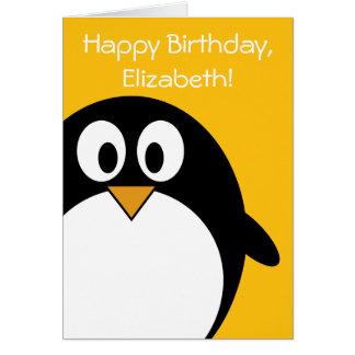 Pingouin d'anniversaire personnalisable carte de vœux