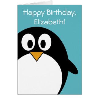 Pingouin d'anniversaire personnalisable cartes