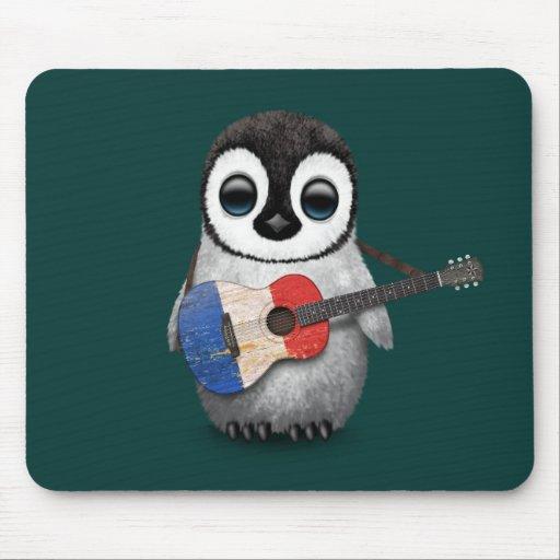 Pingouin de bébé jouant la guitare française Teal Tapis De Souris