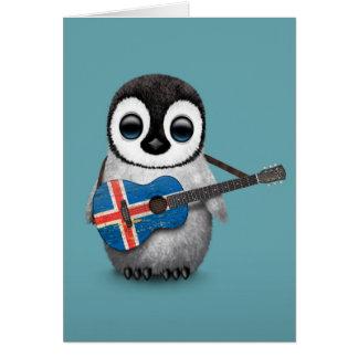 Pingouin de bébé jouant le bleu islandais de carte de vœux