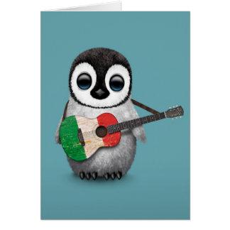 Pingouin de bébé jouant le bleu italien de guitare carte de vœux