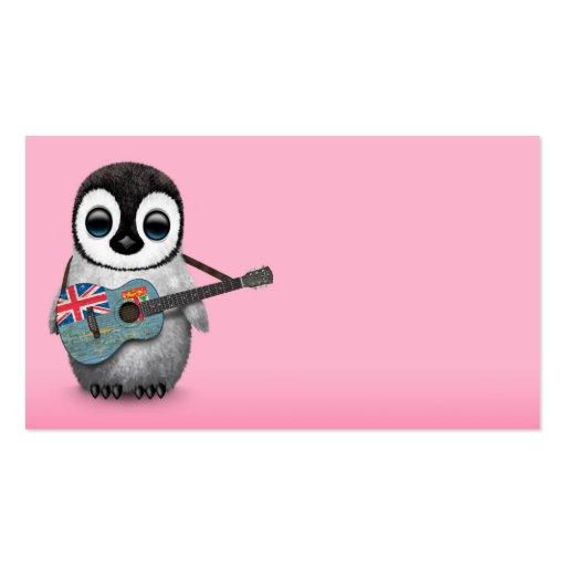 Pingouin de bébé jouant le rose de guitare de modèle de carte de visite