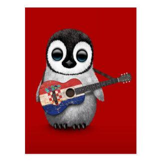 Pingouin de bébé jouant le rouge croate de guitare carte postale