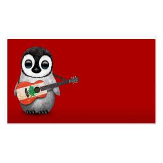 Pingouin de bébé jouant le rouge libanais de modèle de carte de visite