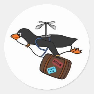 Pingouin de déplacement d'hélicoptère de vol avec  sticker rond