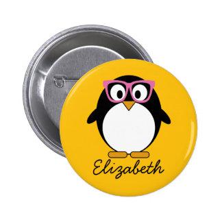 Pingouin de hippie - rose mignon de jaune de bande badge