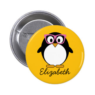 Pingouin de hippie - rose mignon de jaune de bande badge rond 5 cm
