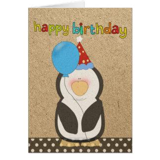 Pingouin de joyeux anniversaire tenant le ballon carte de vœux