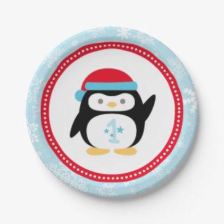 Pingouin de l'anniversaire | d'ONEderland d'hiver Assiette En Papier 17,8 Cm