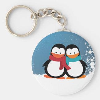 Pingouin de Noël Porte-clé Rond
