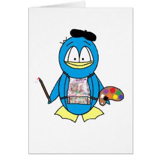 Pingouin de peintre carte de vœux