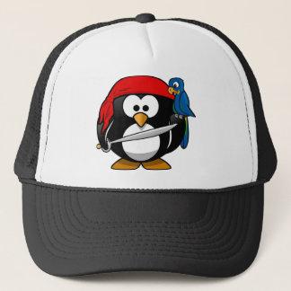 Pingouin de pirate avec une bandanna rouge et un casquette
