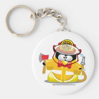 Pingouin de sapeur-pompier porte-clé rond