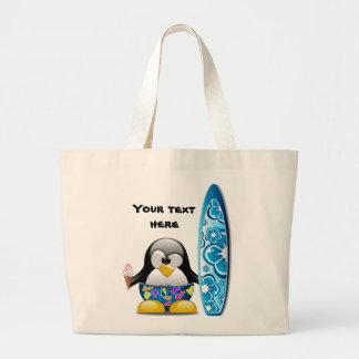 Pingouin de surfer avec la crème glacée grand sac