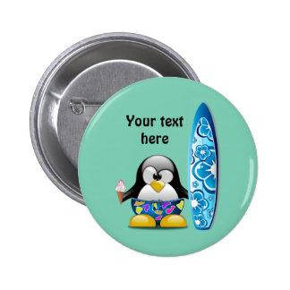 Pingouin de surfer avec la crème glacée pin's