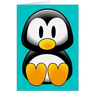 Pingouin drôle mignon de bébé carte de vœux