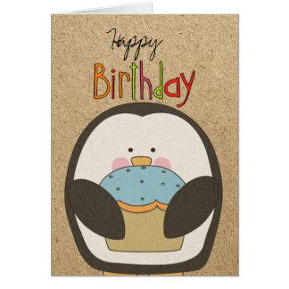 Pingouin et petit gâteau de joyeux anniversaire carte de vœux