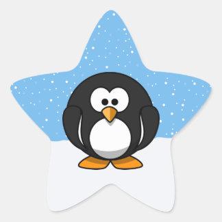 Pingouin mignon autocollant en étoile
