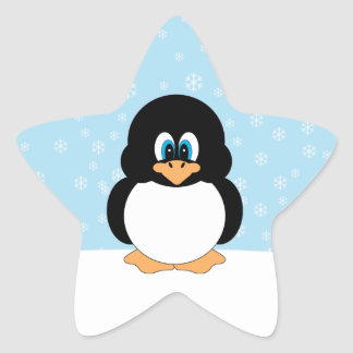 Pingouin mignon avec des autocollants de flocons