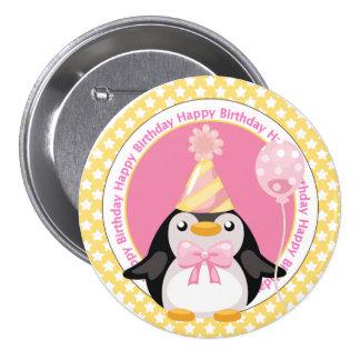 Pingouin mignon avec l'anniversaire de ballon badge rond 7,6 cm