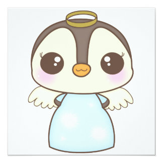 pingouin mignon d'ange d'hiver de Noël Invitation