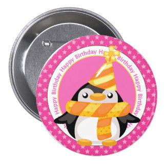 Pingouin mignon d'anniversaire badge rond 7,6 cm