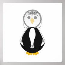 Pingouin mignon de jeune mariée posters
