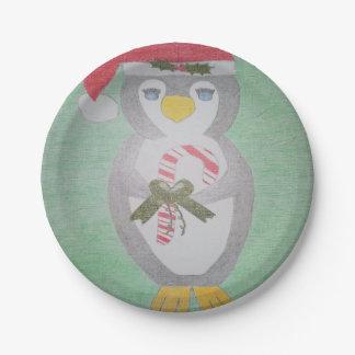 Pingouin mignon de Noël Assiettes En Papier
