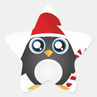 Pingouin mignon de Noël Stickers En Étoile