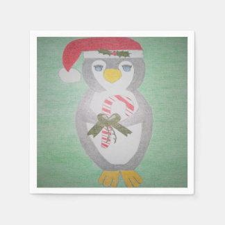 Pingouin mignon de Noël Serviette Jetable