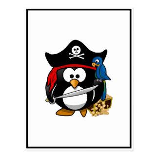 Pingouin mignon de pirate avec le coffre au trésor cartes postales