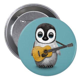 Pingouin musical de bébé jouant le bleu de guitare badges