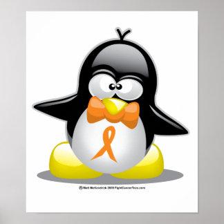 Pingouin orange de ruban posters