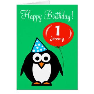 Pingouin personnalisé de la carte d'anniversaire |