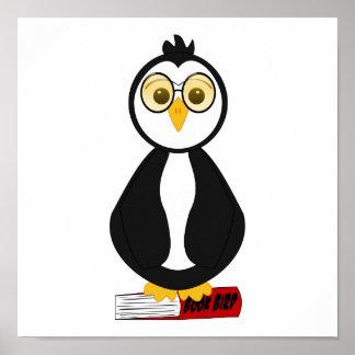 Pingouin ringard mignon de rat de bibliothèque affiche
