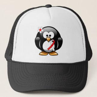 Pingouin rouge et blanc de ruban casquette