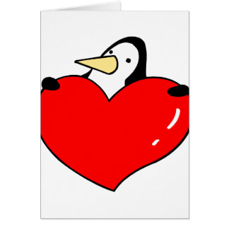 Pingouin tenant la conception mignonne de coeur cartes de vœux