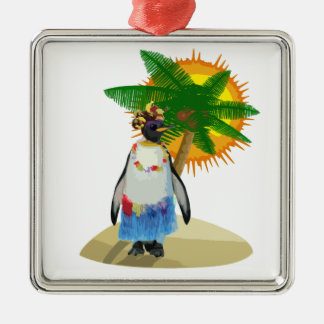 Pingouin tropical ornement carré argenté