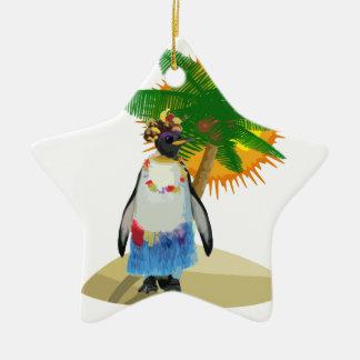Pingouin tropical ornement étoile en céramique