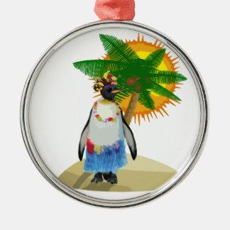Pingouin tropical ornement rond argenté