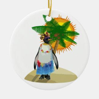 Pingouin tropical ornement rond en céramique