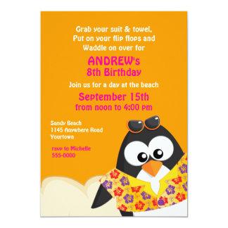 Pingouin tropical sur l'anniversaire de plage carton d'invitation  12,7 cm x 17,78 cm