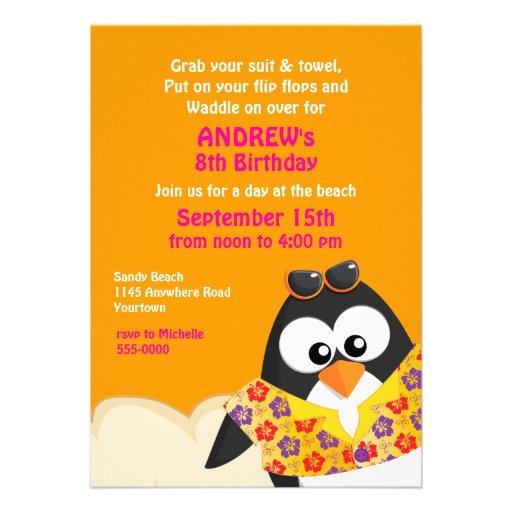Pingouin tropical sur l'anniversaire de plage cartons d'invitation