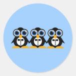 pingouins autocollant rond