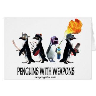 pingouins avec des armes carte de vœux