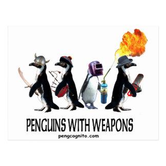 pingouins avec des armes cartes postales
