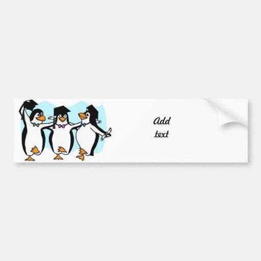 Pingouins de graduation de bande dessinée mignonne autocollant pour voiture