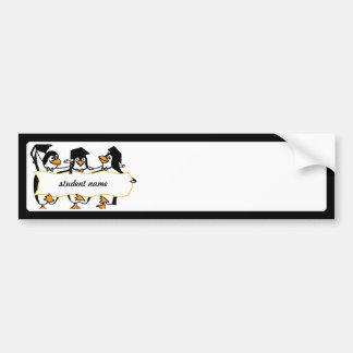 Pingouins de graduation w/Banner de bande dessinée Autocollant Pour Voiture